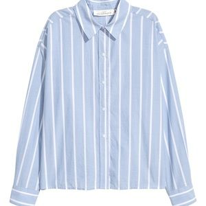 Blue white button up